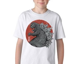 Tokyo Kaiju Kids Tee with Black Variation - Japanese Flag Daikaiju Tokustasu Film    Kaiju Japan    Sci-Fi Monster Movie Youth T-shirt