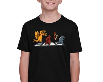 Kaiju Road Kids T-shirt - Retro Kaiju   Japanese Tokusatsu Show   Kawaii Cute Chibi Kaijus   Classic Monster Abbey Road Parody Youth Tee