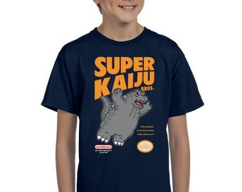 Super Kaiju Bros. Kids T-shirt - Retro Kaiju Video Game   Japanese Tokusatsu Show   Super Monster   Classic Gaming Battle Youth Tee Shirt