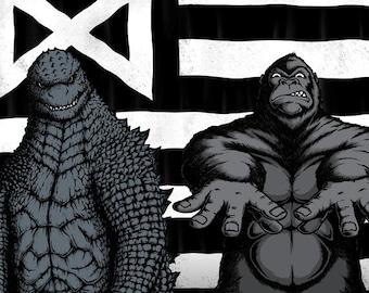 Kaijuria - Monarch Flag Monster Hip Hop Music Crossover    Album Art Paordy Sci-Fi Monster Movie Mashup Unisex Adult T-shirt