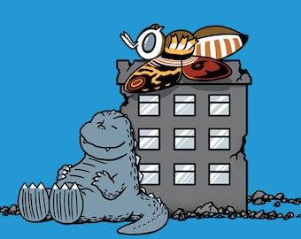 Kaijunuts-  Classic Cartoons Comic Strip Kaiju Monster Crossover Unisex T-shirt
