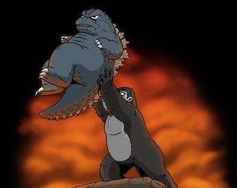 The Kaiju King - 2021 Version   Classic Movie Parody   90's Cartoon Monster Mashup Funny Unisex T-shirt