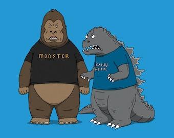 Stupid Kaijus-  90's Cartoons Kaiju Monster Mashup   Funny Monsters    Beavis Godzilla Kong Unisex T-shirt