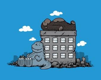 Kaijunuts Version 2 -  Classic Cartoons Comic Strip Kaiju Monster Crossover Unisex T-shirt