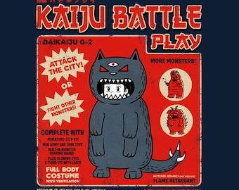 Kaiju Player 2 - Retro Kaiju Costume   Vintage Japanese Tokusatsu Show   Catzilla   Classic Cat Neko Monster Battle Unisex T-shirt