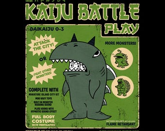 Kaiju Player 3 - Retro Kaiju Costume   Classic Japanese Tokusatsu Show   Monster Shark   Monster Battle Vintage Unisex T-shirt