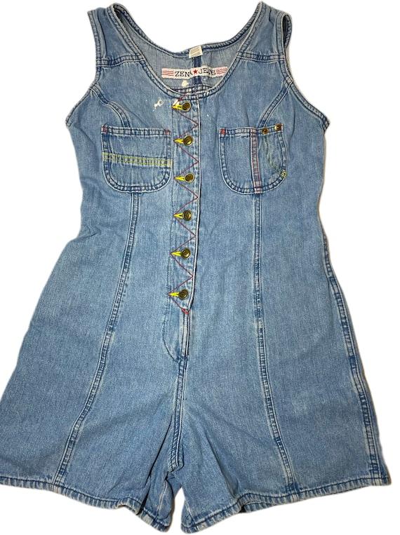 Zena Jeans Denim Romper 90's Y2K Distressed size 5