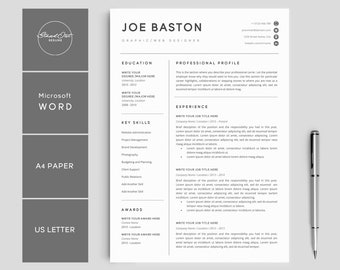 "Resume Template | Modern & Professional Resume Template for Word | CV Resume + Cover Letter | 5 Page Pack | Instant Download Resume | ""JOE"""