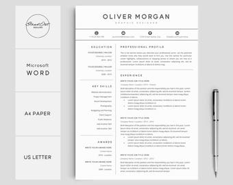 resume template professional resume cover letter 5 page pack creative resume template for word instant download resume oliver - Professional Resume Template Microsoft Word