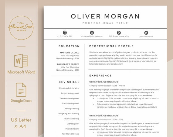 Professional Resume Template for Word Instant Download 5 Page Pack ResumeCV Cover Letter ANNA Google Docs References