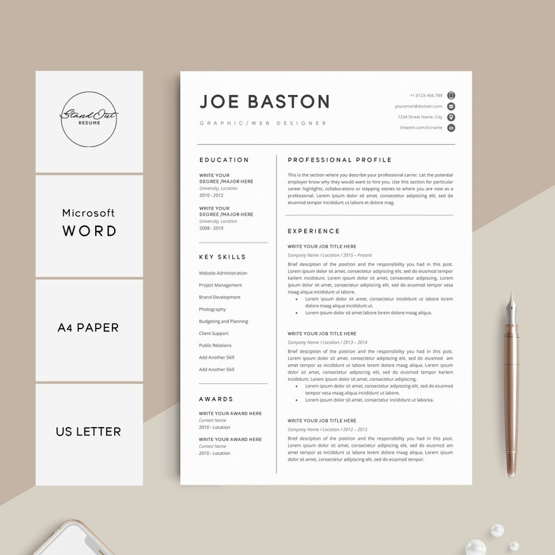 Resume Template Modern Professional For