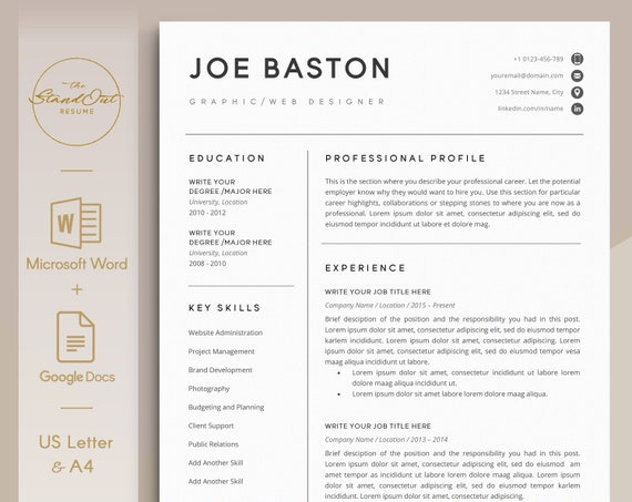 Professional Resume Template For Word Google Docs 123 Etsy