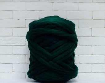 "Chunky yarn, Giant yarn, merino wool, super big bulky, arm knitting, ""emerald fir"", Chunky Throw, diy, yarn for big blanket Yarn 21 micron."