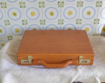 Presto Solid Wood Briefcase, Executive Attache Briefcase, laptop case, computer case, Combo Lock, vintage briefcase