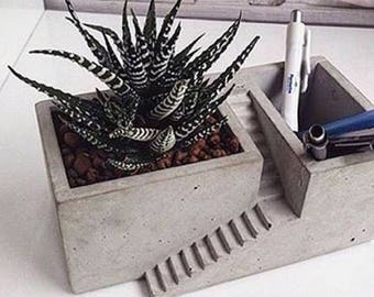 Concrete Pencil Box or Flower Potwith Tiny Stairs Minimal Design for Office Desks, Living Spaces