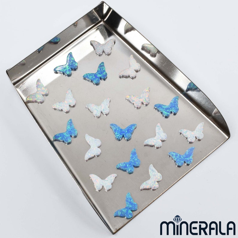 Butterfly White and Sky Blue Synthetic Lab Created Opal Beads Full Drilled WP0027E