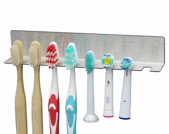 8-of-eight toothbrush holder made of stainless steel also for electric toothbrush heads, NO BOHREN