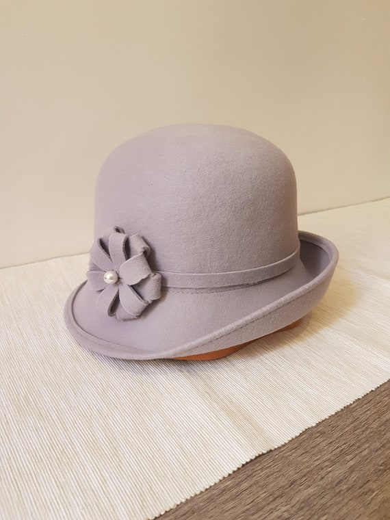 108009876a7 SALE Bowler Cloche Hat Handmade in Italy  100% Wool  Light