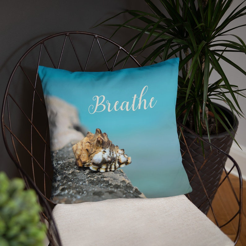 Breathe Pillow Cover and Insert  Beach House Spa Decor image 0