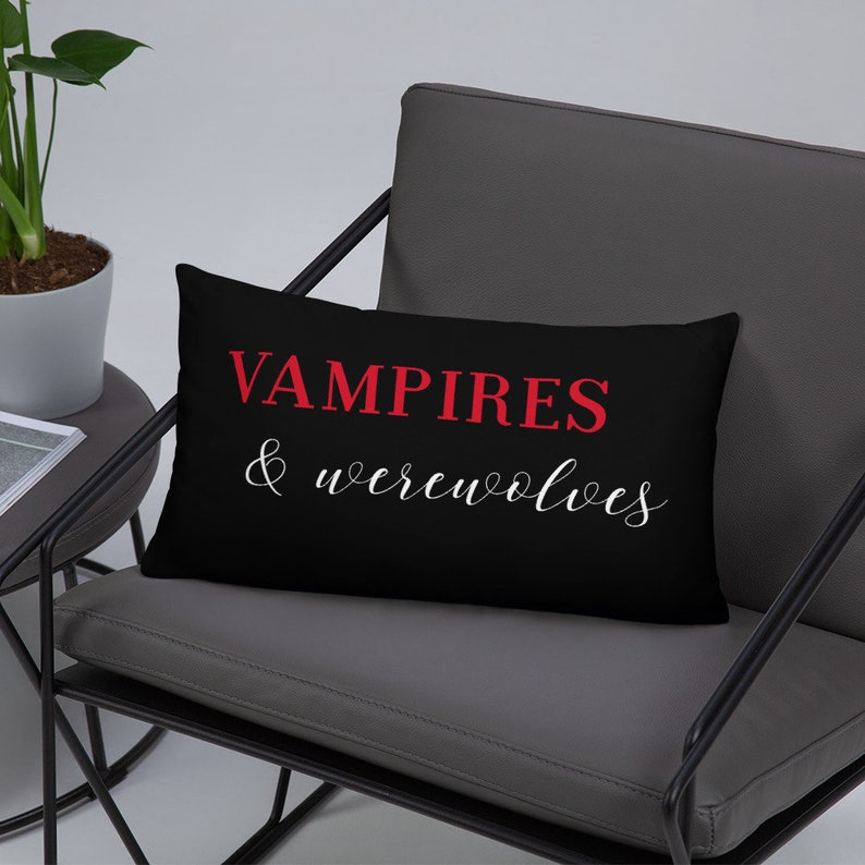 Vampires and Werewolves Spooky Pillow Cover and Insert  image 0