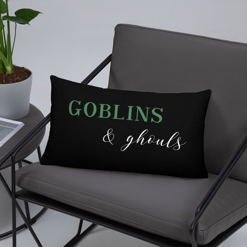 Goblins and Ghouls Halloween Throw Pillow  Cover with Insert image 0
