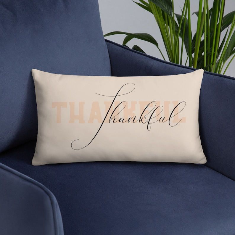 Thankful Pillow Cover with Stuffed Insert  Thanksgiving image 0