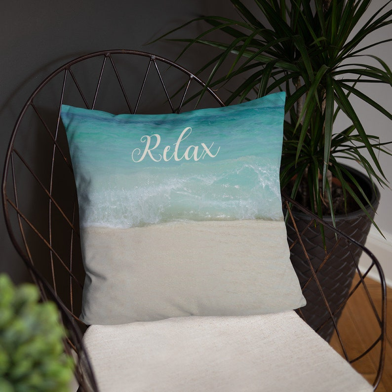 Relax Pillow Cover and Insert  Beach House Spa Decor image 0