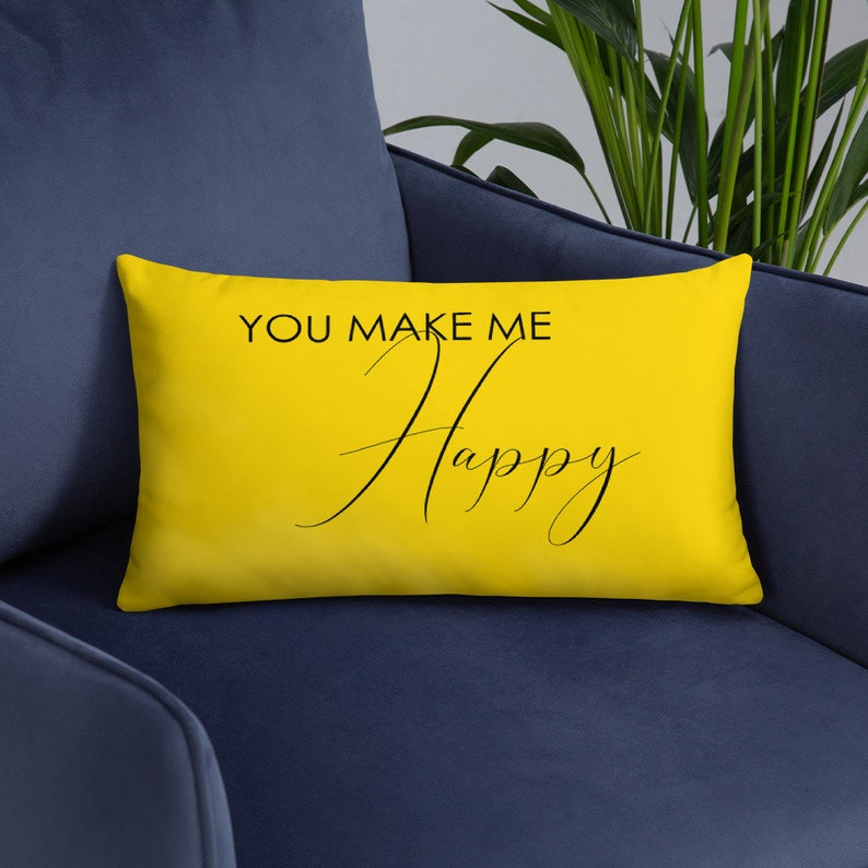 You Make Me Happy Pillow  Yellow Lumbar Couch Throw Cover and image 0