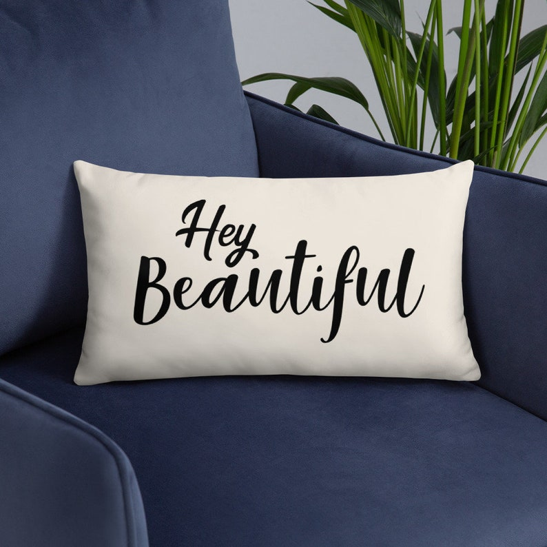 Hello Beautiful Pillow Cover and Insert  Romantic Throw Gift image 0