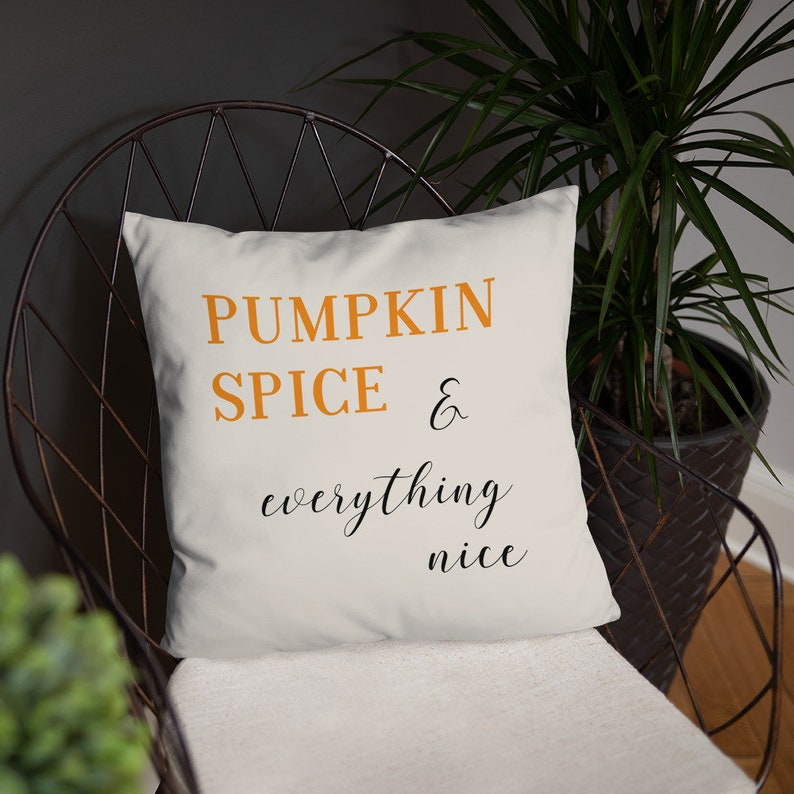 Pumpkin Spice Pillow  Fall Throw Pillow Cover and Insert  image 0