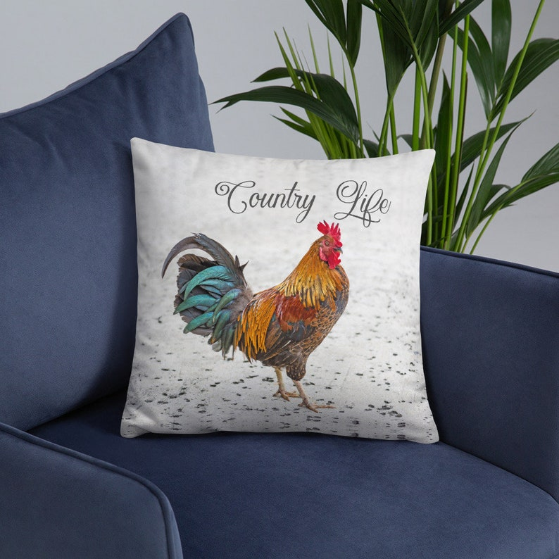 Rooster Pillow Cover and Insert  Bantam Chicken Room Decor image 0