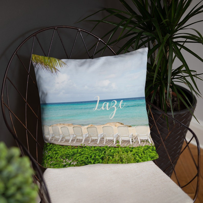 Laze Relax Pillow Cover and Insert  Coastal Beach House image 0