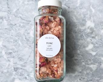 Rose Bath Salts | Himalayan Bath Soak | Aromatherapy Bath Salts | Herbal Spa Gift | New Mom Gift | Bridesmaid Gift | Romantic bath soak