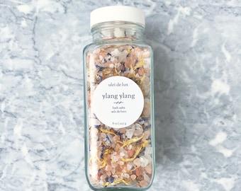 Aromatherapy Bath Salts 8 oz | Ylang Ylang + Bergamot Bath Soak | Herbal Bath | Mother Gift | Spa Gift