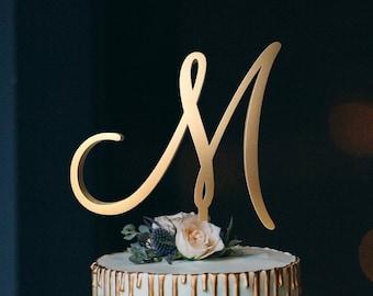 Wedding Cake Topper Cake Topper Letter M Initials Cake Topper Single Letter Cake Topper Wedding Cake Topper Topper M Gold M letter wood