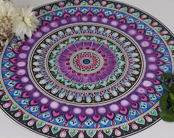 Mandala Original Artwork   spiritual mandala drawing henna inspired hand-drawn purple, blue, pink mandala art original