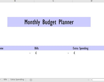 Monthly budget excel | Etsy