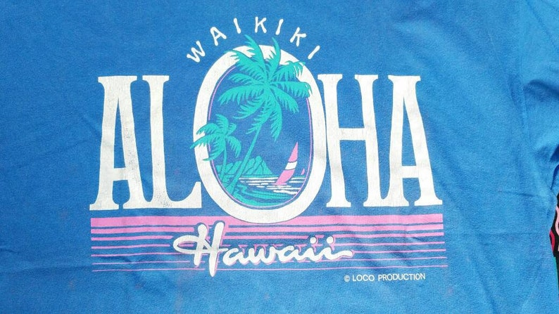 d59015f0c7 Vintage ALOHA WAIKIKI HAWAII t shirt size xl not surf style sun surf body  glove jams world hang ten hang loose