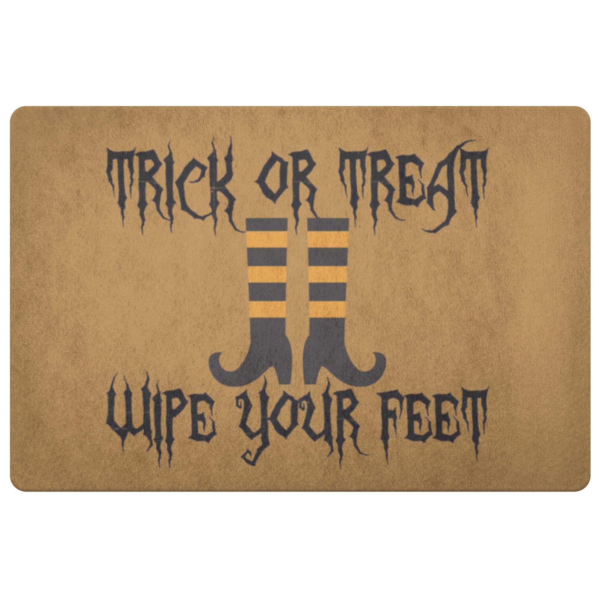 wipe your feet! Trick or treat Grim reaper leave your soles Funny Halloween Doormat!