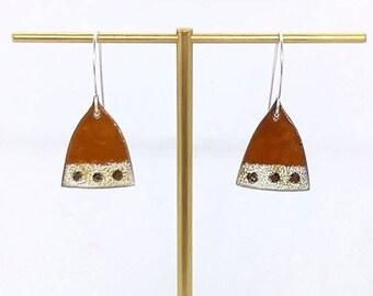 Handmade Enamel earrings - Amber earrings