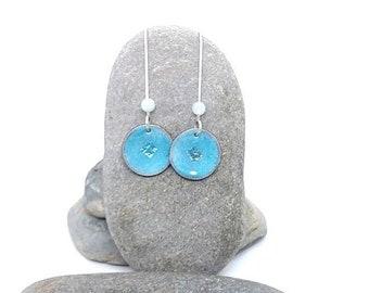 Handmade Enamel earrings - Turquoise earrings