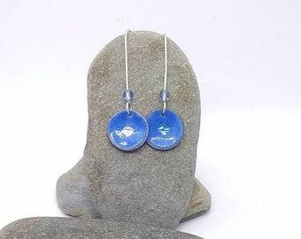 Handmade Enamel earrings - Blue enamel earrings