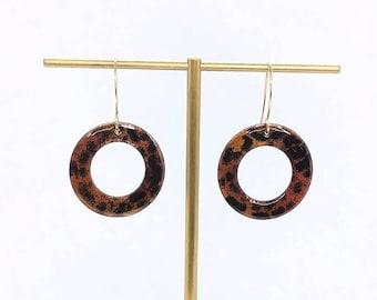 Handmade Enamel earrings - Hoop Earrings - Leopard print earrings