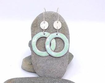 Handmade Enamel earrings - Hoop Earrings