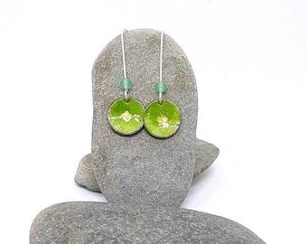 Handmade Enamel earrings - lime green earrings