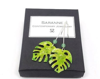 Handmade Enamel earrings - Monstera earrings - Leaf earrings