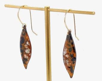 Handmade Enamel earrings - Animal print earrings -