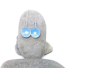 Handmade Enamel earrings - Pastel blue earrings
