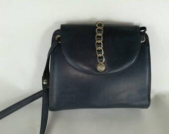 da66d4f04c Gianni Versace bag vintage bag cross body bag satchel shoulder leather blue bag  bag leather strap sac bandouliere bags sur epaule