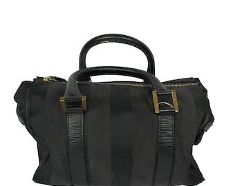 bebefd3a8c31 Fendi Bag Vintage Doctor bag canvas and leather black handbag Fendi Bag  vintage black fabric and leather fendi sac a main noir